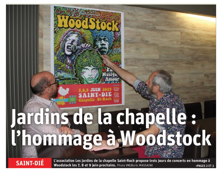 Hommage à Woodstock & Jardins de La Chapelle Saint Roch - Article Vosges Matin